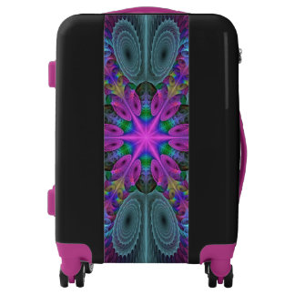 Mandala From Center Colorful Fractal Art With Pink Luggage
