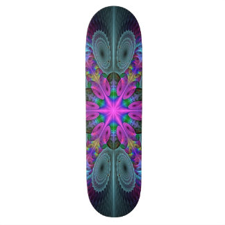 Mandala From Center Colorful Fractal Art With Pink Skateboard Deck