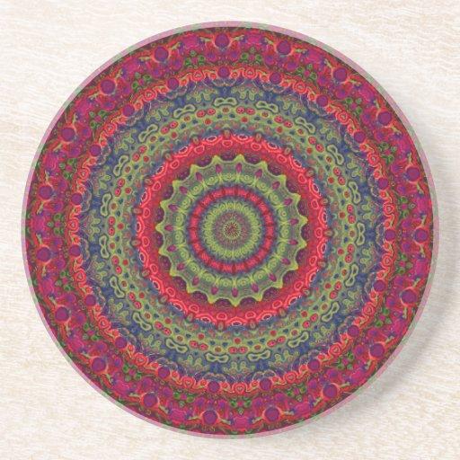 Mandala fucsia del caleidoscopio posavasos diseño