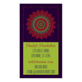 Mandala fucsia del caleidoscopio plantilla de tarjeta personal