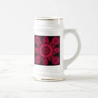 Mandala fucsia del copo de nieve del cordón del jarra de cerveza