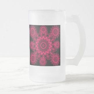 Mandala fucsia del copo de nieve del cordón del taza de cristal