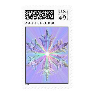 Mandala Glitter Snowflake Crystal Christmas Postage Stamp