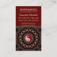 Mandala Gold Red YinYang New Age Business Cards