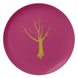 Mandala gold treen on purple plate