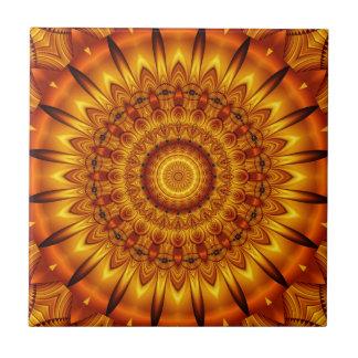 mandala golden sun ceramic tile