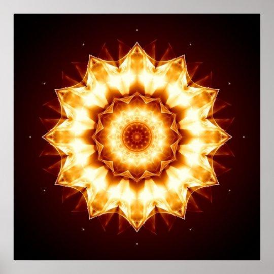 Mandala golden Sun Poster