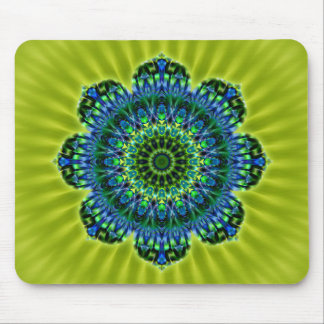 Mandala green blue | lightgreen flower mouse pad
