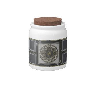Mandala gris del oro platos para caramelos