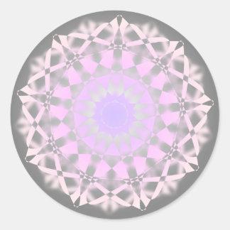 Mandala gris púrpura rosada pegatina redonda