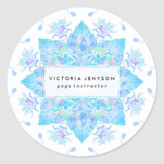 Mandala handdrawn de la acuarela floral azul de la pegatina redonda