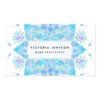 Mandala handdrawn de la acuarela floral azul de la tarjetas de visita