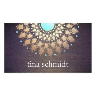 Mandala Holz de Elegante Goldfolie Verziert Blatt Tarjetas De Visita
