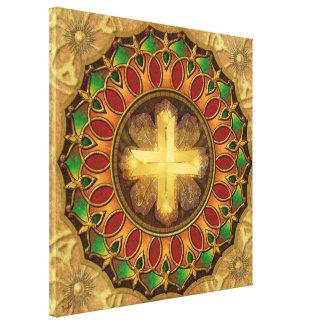 Mandala Illuminated Cross Canvas Print