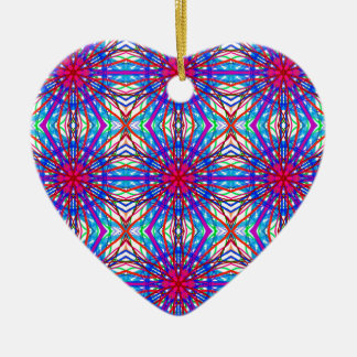 Mandala In Blue And Fuchsia - Tiled Ceramic Ornament