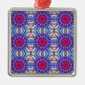 Mandala In Blue And Fuchsia - Tiled Metal Ornament