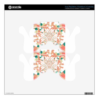 mandala in blue and salmon pink PS3 controller skin