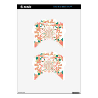 mandala in blue and salmon pink xbox 360 controller decal