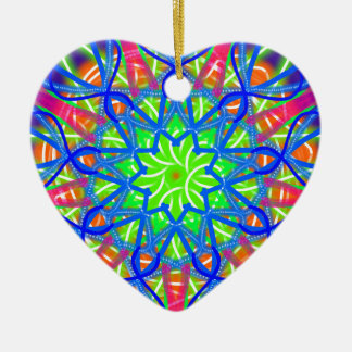 Mandala In Green And Blue Ceramic Ornament