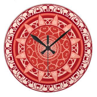 Mandala in Red Large Clock