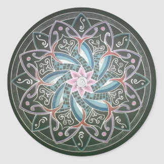 Mandala in the depths of the sea classic round sticker