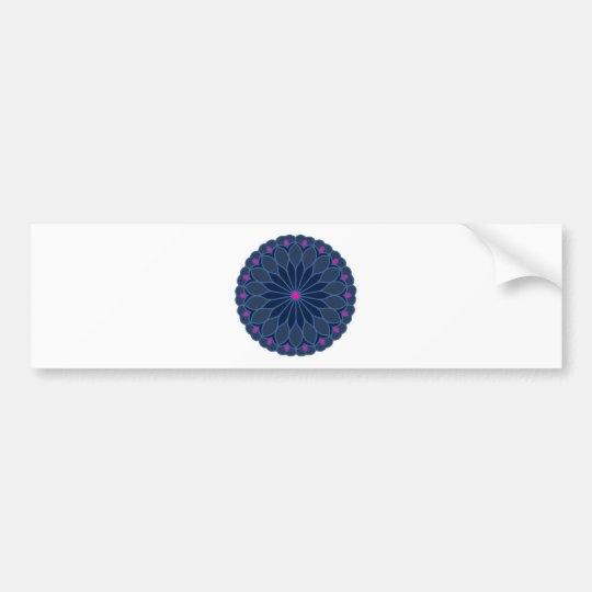 Mandala Inspired Dark Blue Flower Bumper Sticker