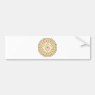 Mandala Inspired Pale Beige Flower Bumper Sticker