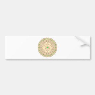 Mandala Inspired Pale Beige Flower Bumper Sticker