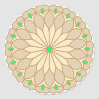 Mandala Inspired Pale Beige Flower Classic Round Sticker