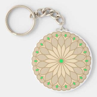 Mandala Inspired Pale Beige Flower Key Chains