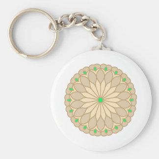 Mandala Inspired Pale Beige Flower Keychain