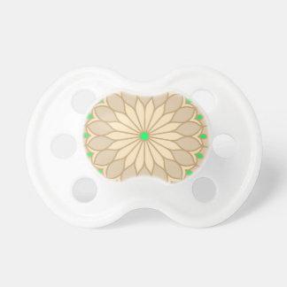 Mandala Inspired Pale Beige Flower Pacifier