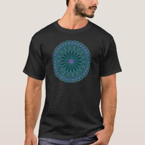 Mandala Inspired Teal Blue Flower T-Shirt