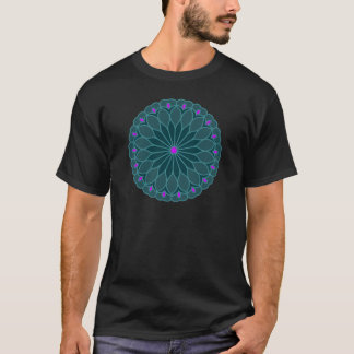 Mandala Inspired Teal Blue Flower T-Shirt