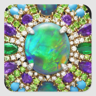 Mandala Jeweled Pegatina Cuadrada