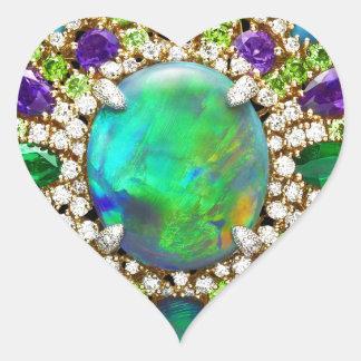 Mandala Jeweled Pegatina En Forma De Corazón
