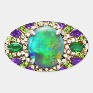 Mandala Jeweled Pegatina Ovalada