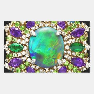 Mandala Jeweled Pegatina Rectangular