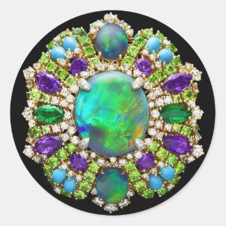 Mandala Jeweled Pegatina Redonda