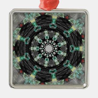 Mandala julio de 2013 adorno navideño cuadrado de metal