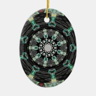 Mandala julio de 2013 adorno navideño ovalado de cerámica