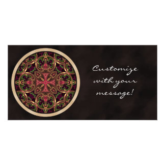 Mandala Kaleidoscopic Cross Abstract Photo Card