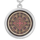 Mandala, Kaleidoscopic Cross Abstract Round Pendant Necklace