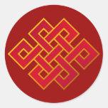Mandala Karma Buddhism Eternal Knot Round Stickers
