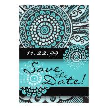 Mandala Lace Turquoise Black Save the Date Wedding Card
