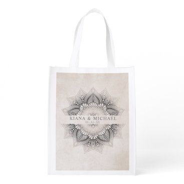 Wedding Themed Mandala Lace Wedding Date Neutrals ID478 Reusable Grocery Bag