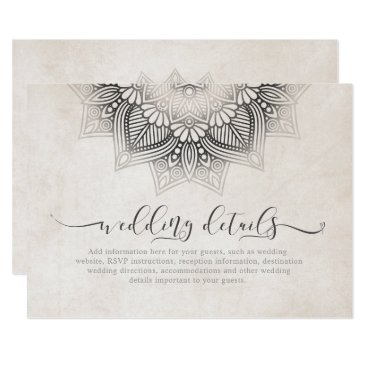 Wedding Themed Mandala Lace Wedding Details Neutrals ID478 Card