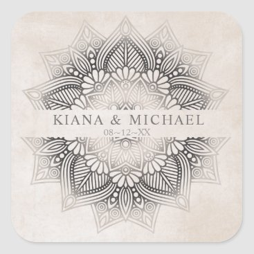 Wedding Themed Mandala Lace Wedding Favors Neutrals ID478 Square Sticker