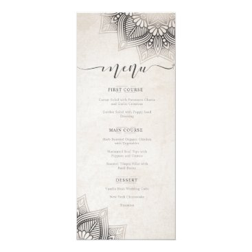 Wedding Themed Mandala Lace Wedding Menu Neutrals ID478 Card