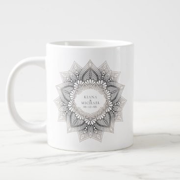 Wedding Themed Mandala Lace Wedding Neutrals ID478 Giant Coffee Mug
